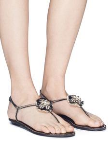 René Caovilla Fringed strass pavé brooch satin sandals