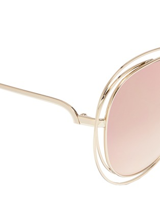 Detail View - Click To Enlarge - Chloé - 'Carlina' overlap wire rim round metal mirror sunglasses