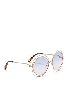 Chloé 'Carlina' overlap wire rim round sunglasses