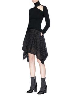Neil Barrett Geometric mesh poplin handkerchief skirt