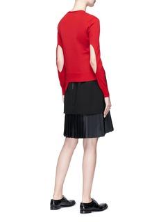 NEIL BARRETT 镂空衣袖不对称美丽诺羊毛针织衫