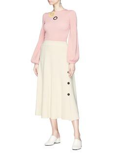 Roksanda 'Kaori' button outseam wool blend knit skirt