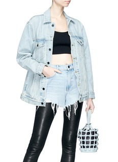 Alexander Wang  'Roxy' dome stud mini denim caged leather bucket bag