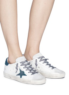 Golden Goose 'Superstar' glitter star patch leather suede sneakers