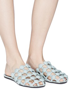 Alexander Wang  'Amelia' dome stud caged denim slides