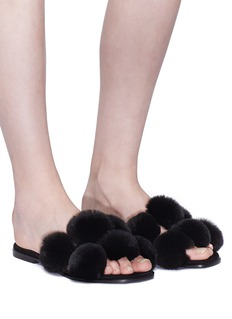Alexander Wang  'Ava' pompom fur slide sandals