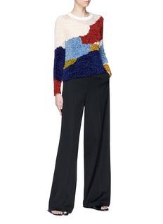Rosetta Getty Colourblock chenille knit patchwork sweater