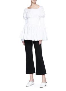 Rosetta Getty Smocked peplum poplin blouse