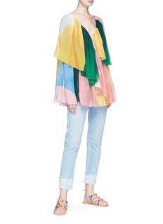 Rosetta Getty Colourblock tiered ruffle silk chiffon blouse