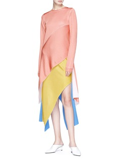 Rosetta Getty Colourblock asymmetric chenille knit top