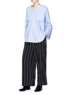 The Keiji 罗缎条纹阔腿裤