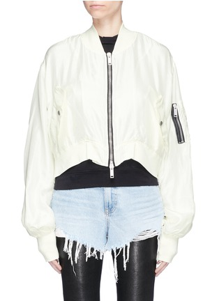 Main View - Click To Enlarge - Ben Taverniti Unravel Project  - Cropped silk sateen bomber jacket