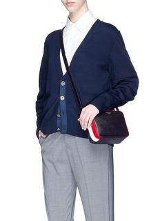Thom Browne Stripe mini pebble grain leather crossbody business bag