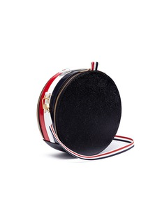 Thom Browne Stripe pebble grain leather crossbody hat box bag