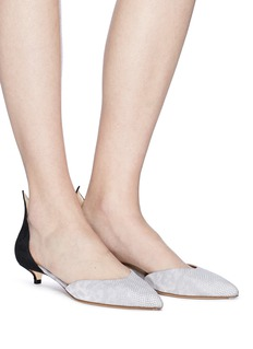 Francesco Russo Suede snakeskin leather d'Orsay pumps