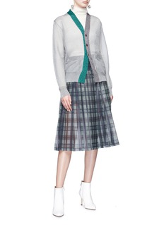 TOGA ARCHIVES Tartan plaid pleated mesh midi skirt