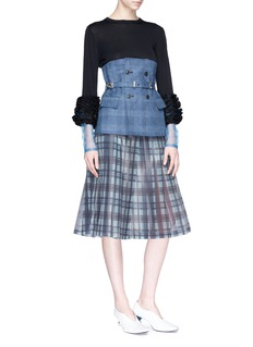 TOGA ARCHIVES Check plaid linen-cotton corset