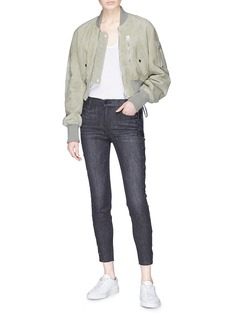 Frame Denim 'Le High Skinny' lace-up outseam jeans
