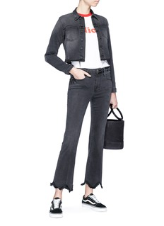 Frame Denim 'Le Crop Mini Boot' asymmetric fringed cuff jeans