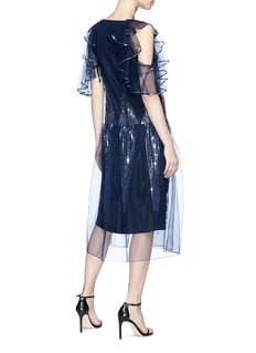 Temperley London 'Mineral' ruffle cold shoulder sequinned silk organza overlay dress
