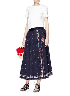 Temperley London 'Divine' mix dot sateen midi wrap skirt
