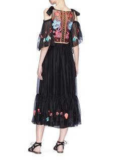 Temperley London 'Botanist' embroidered cold-shoulder sweetheart dress