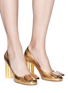 Salvatore Ferragamo 'Capua' metallic flower heel satin pumps