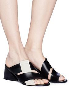 Mercedes Castillo 'Zyla Mid' intrecciato vamp leather mules