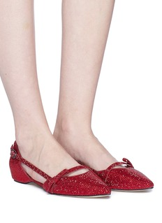 Pedder Red 'Kelly' strass strappy suede d'Orsay flats