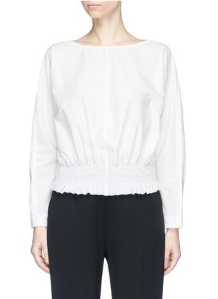 Main View - Click To Enlarge - KUHO - 'Rohe' smocked waist poplin blouse