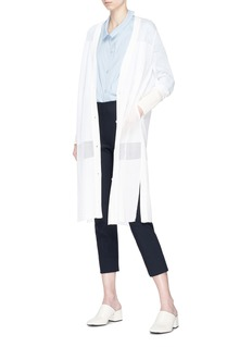 KUHO Mirror拼接设计透视长款针织外套