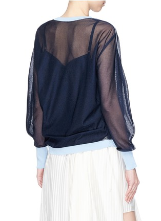 Back View - Click To Enlarge - KUHO - 'Mirror' colourblock trim balloon sleeve sweater
