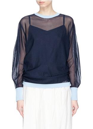 Main View - Click To Enlarge - KUHO - 'Mirror' colourblock trim balloon sleeve sweater