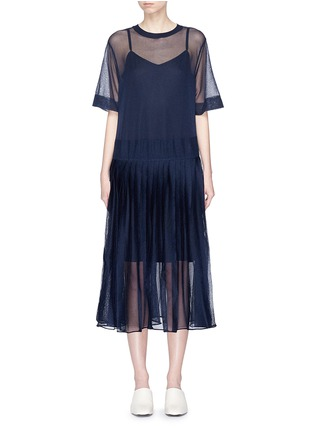 Main View - Click To Enlarge - KUHO - 'Mirror' pleated knit dress