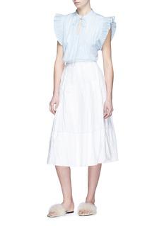 RHIÉ 'Darci' plissé sleeve stripe shirt
