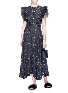 RHIÉ 'Dillion' plissé sleeve floral print silk blouse