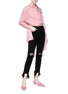 L'Agence 'High Line' destructed cropped skinny jeans