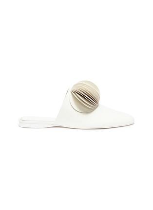 Main View - Click To Enlarge - Mercedes Castillo - 'Malou' petal pompom leather slides