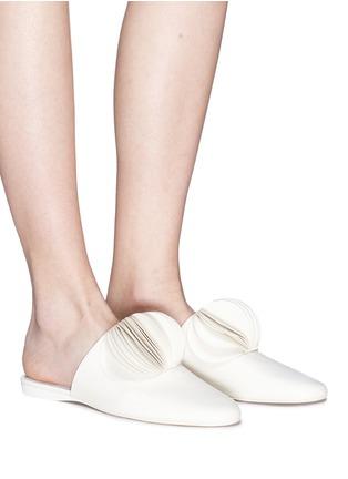 Figure View - Click To Enlarge - Mercedes Castillo - 'Malou' petal pompom leather slides