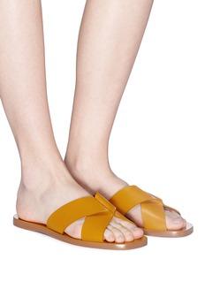 Mercedes Castillo 'Melea' cross strap leather slide sandals