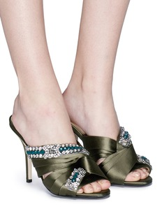 NO.21 Strass embellished knotted satin mules