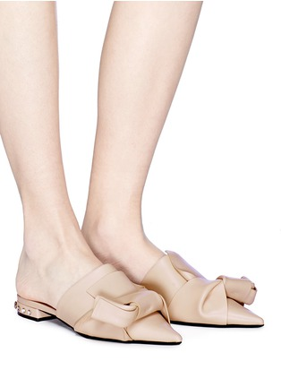 Figure View - Click To Enlarge - NO.21 - Stud heel bow leather slippers