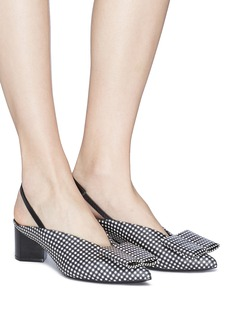 Pierre Hardy 'Obi' bow gingham print slingback leather pumps