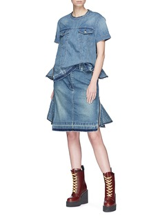 Sacai Quilted ruffle side zip denim skirt