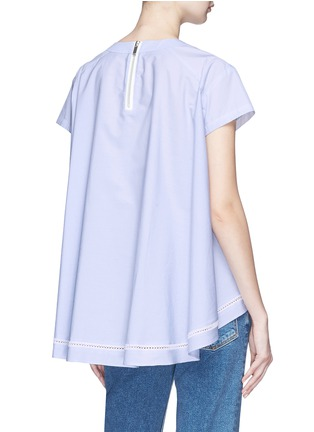 Back View - Click To Enlarge - Sacai - Eyelet lace-up poplin top
