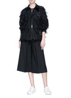 Sacai Ruffle chiffon overlay floral lace jacket