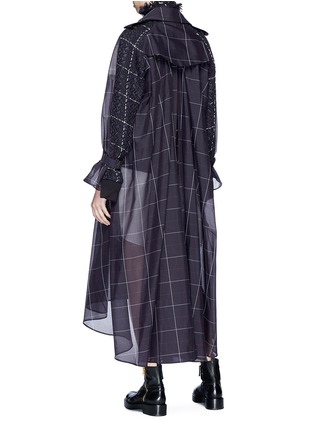 Back View - Click To Enlarge - Sacai - Tweed jacket panel belted check trench coat