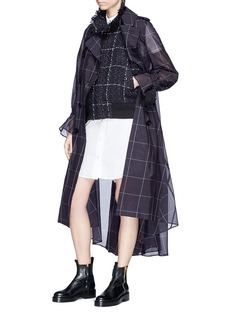 Sacai Tweed jacket panel belted check trench coat