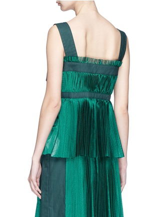 Back View - Click To Enlarge - Sacai - Belted shoulder strap plissé pleated top