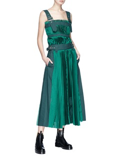 Sacai Belted shoulder strap plissé pleated top